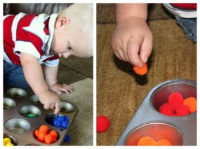 Toddler Activity : Fine Motor Skills with Pom Poms