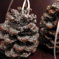 Glittery pine cone ornaments