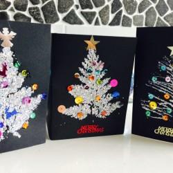 Leaf print Christmas tree cards