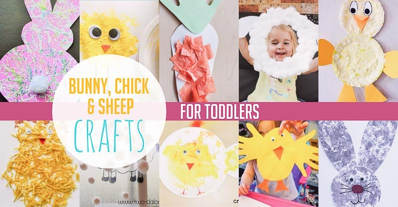 Easter bunny, chick and sheep crafts for toddlers
