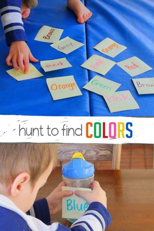 preschool scavenger hunt to find colors hands on as we grow. Black Bedroom Furniture Sets. Home Design Ideas