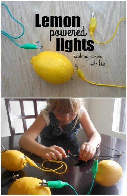 Lemon battery experiment! Using lemons to light an LED. So cool!