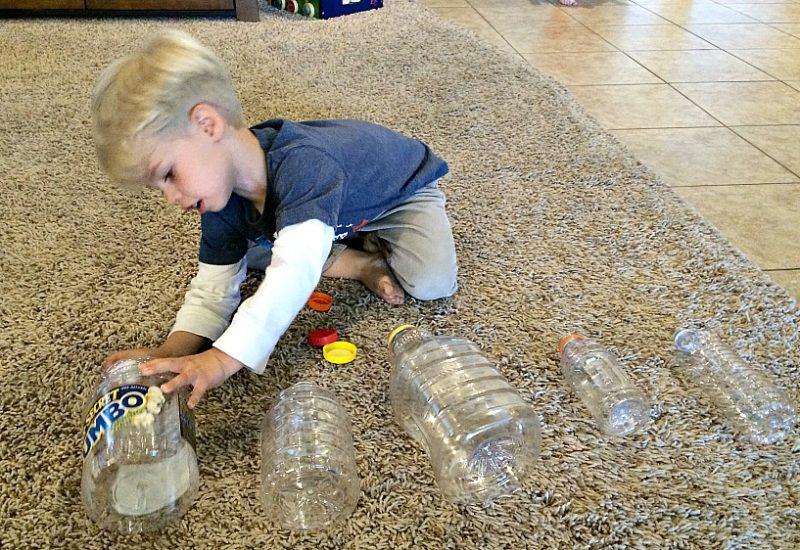 Matching activity using bottle caps