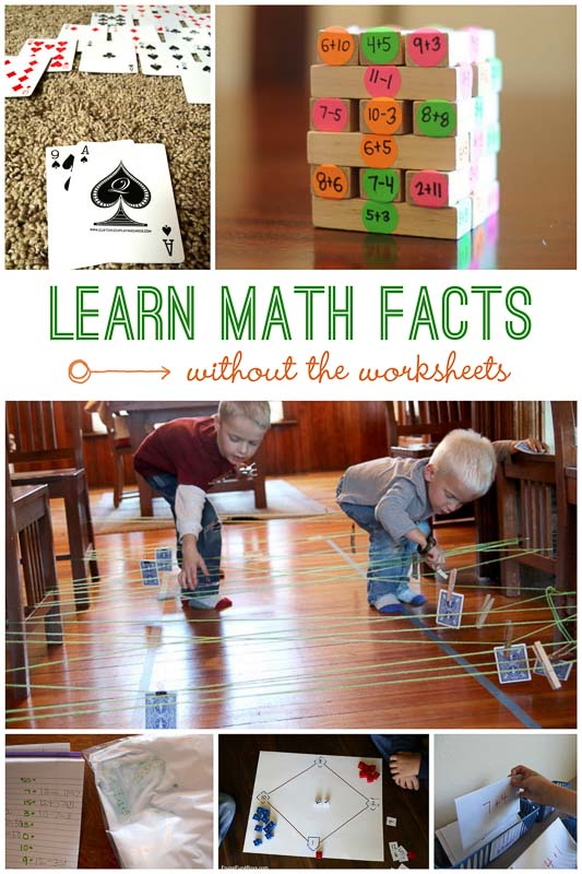 Learning math facts without the worksheets- and these are fun!