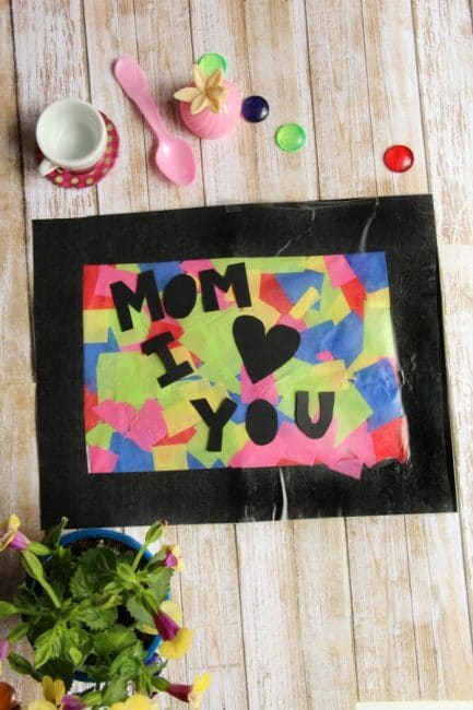 Kids will love making this Mother's Day suncatcher craft for Mother's Day and any day!
