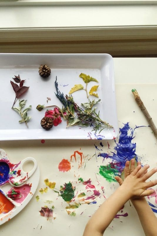Painting with nature and other fun nature activities for kids