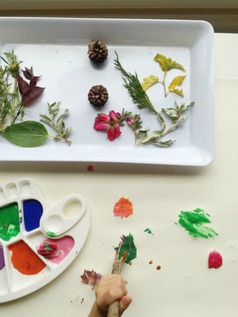Painting with nature is such a fun sensory experience for kids!