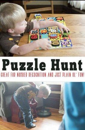 Number Puzzle Scavenger Hunt for Preschoolers