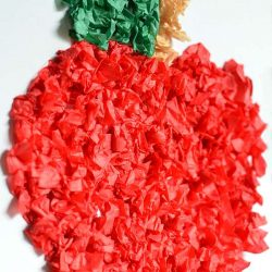 Tissue paper apple craft - a back to school craft for kids