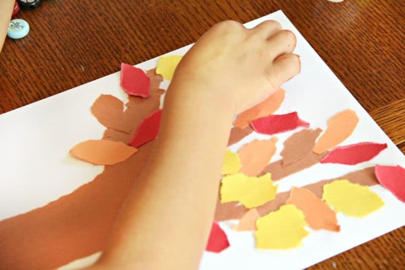 Build a Fall Fine Motor Tree Craft with torn paper.