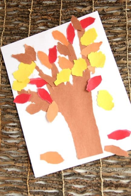 Fall Tree Craft that is perfect for kids to work on hand strength.