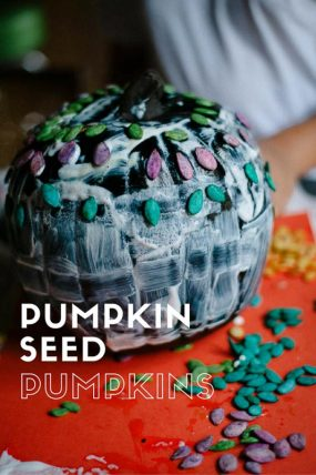 How To Decorate A Pumpkin With Dyed  Pumpkin Seeds
