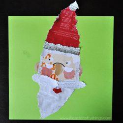 Kids Santa Craft from Magazine Scraps