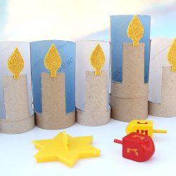 Hanukkah Menorah Made from Recycled Cardboard Tubes