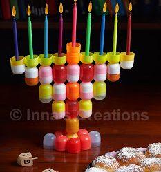 Hanukkah Menorah Made from Recycled Materials