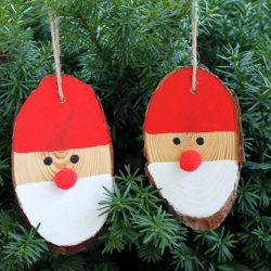 Wood Slice Santa Ornaments
