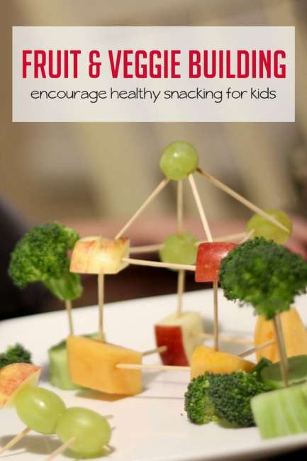 Encourage healthy snacking with fruit and veggie building for kids.