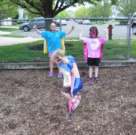 Adjust the size of the obstacle depending on their age for this Superhero Playground Challenge!