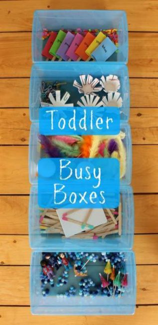 Great ideas for Busy Boxes for Toddlers!