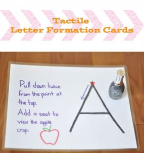 Prewriting Activity: Tactile Letter Formation Cards from Play Learn Love