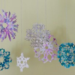 Newspaper Tie Dyed Snowflakes
