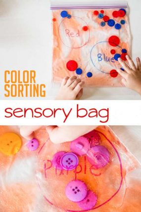 A color sorting sensory bag for learning colors (and a fine motor activity too!)