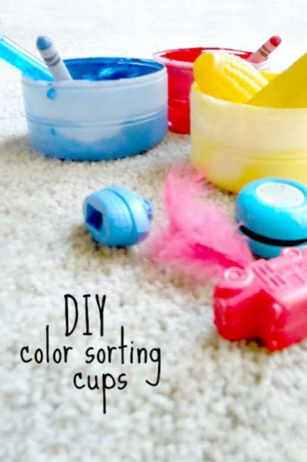 easy color sorting activities with homemade colored cups