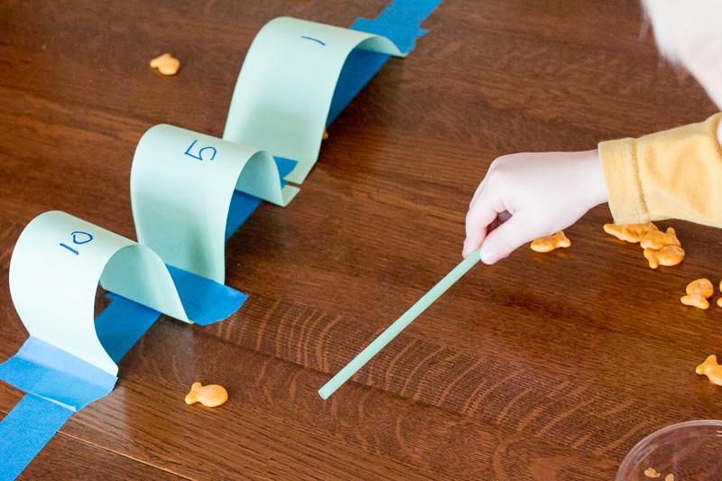 Hockey or goal activity using Goldfish crackers