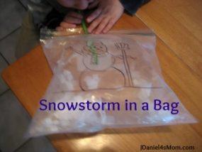 Preschool Activity- Snowstorm in a Bag
