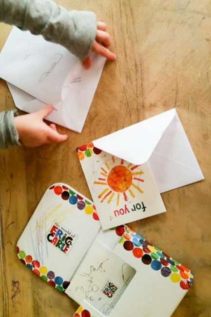 Pretend to write letters to friends - one of many common core activities for kindergarten