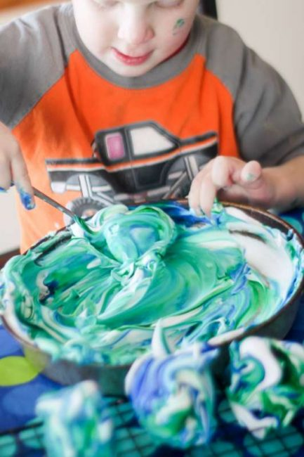 Roll eggs in colored shaving cream to make marbled Easter eggs