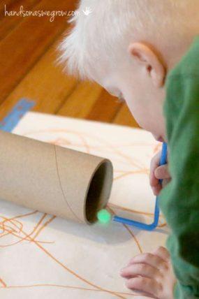 Ready, Aim, Blow! A Pom Pom Activity for Kids