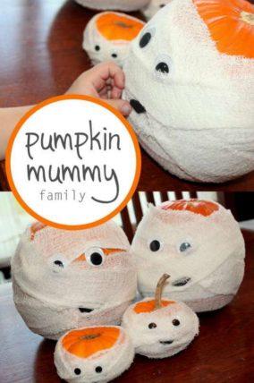 Make pumpkin mummies