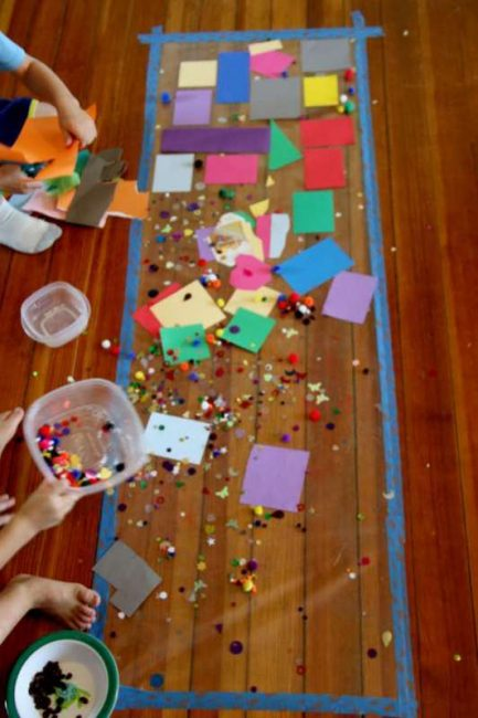 A sensory art project for kids to do