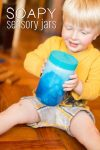 Soapy sensory jars for toddlers - fun to shake up and watch!