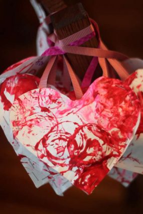 Stuffed Heart Valentines Made with Your Child's Artwork