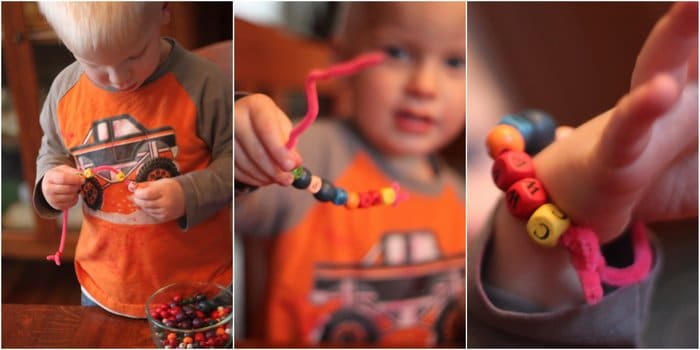 Fine motor threading for toddlers