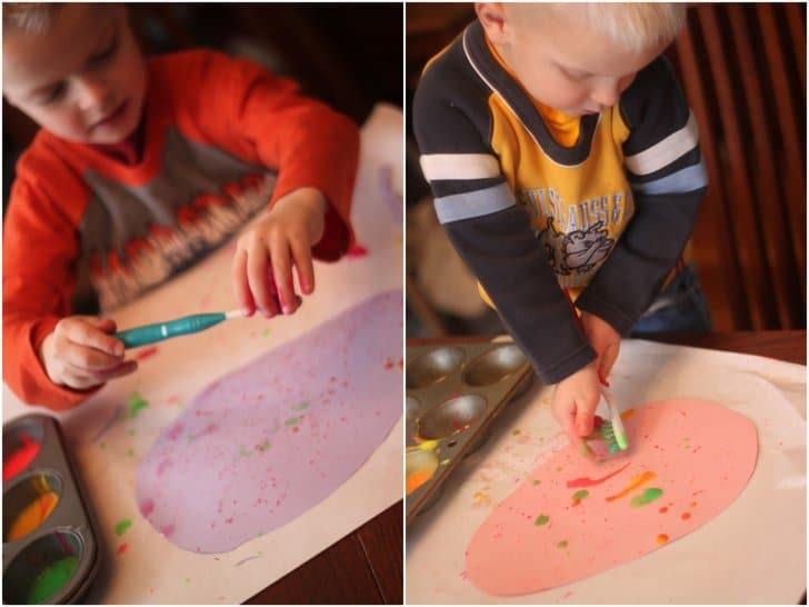 Splatter Paint with Toothbrushes