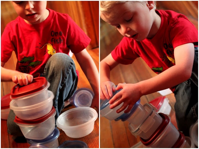 Stacking towers of Tupperware