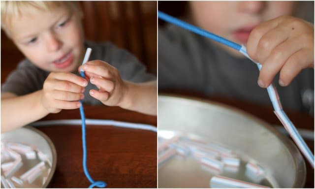Threading straws onto shoestring necklace