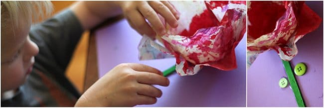 Making starched coffee filter flowers