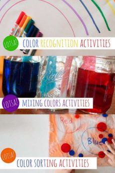 Color activities for preschoolers to recognize the differences in colors, activities that sort by color plus magical color mixing activities!