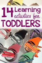 14 learning activities for toddlers -- shapes, abcs, numbers