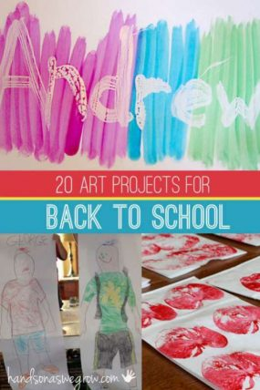 20 back to school art projects for kids to do - name art, self portraits and apple art projects!