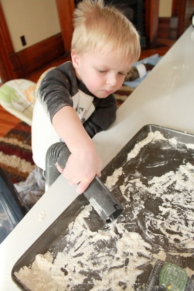 A sensory activity for toddlers -- flour play!