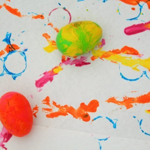 Rolling egg art -  1 of the 36 spring art projects for kids