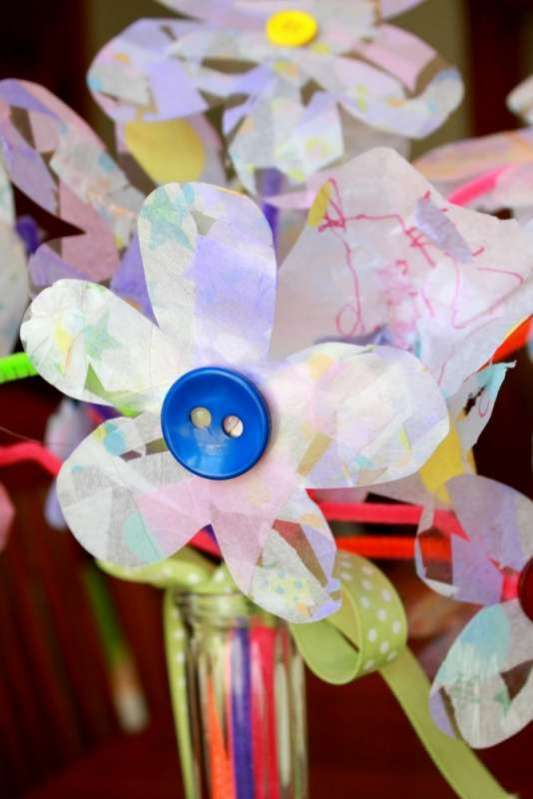Contact paper crafts mothers day craft for kids to make tissue paper flowers mightylinksfo
