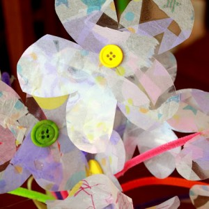 Contact paper tissue paper flowers - 1 of the 36 simple spring crafts for kids!