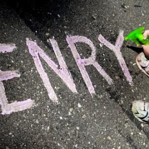 Letters in Fizzy Sidewalk Paint
