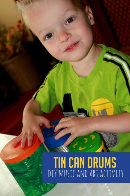 DIY drums out of tin cans with your toddler and preschooler! It's a super simple craft with supplies you already have at home!